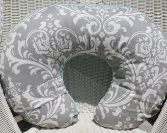 Gray Damask and Minky Boppy Cover