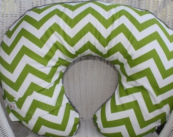 Nursing Pillow Cover - Lime Chevron and Minky Boppy Cover