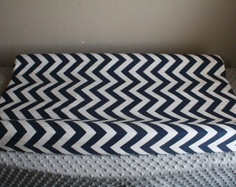 Navy Chevron Contour Changing Pad Cover