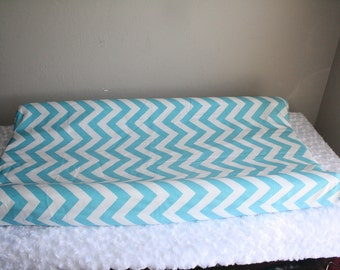 Aqua Chevron Contour Changing Pad Cover