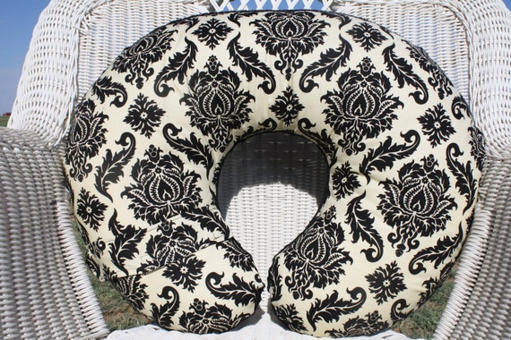 Black Ivory Damask with Minky Boppy Cover