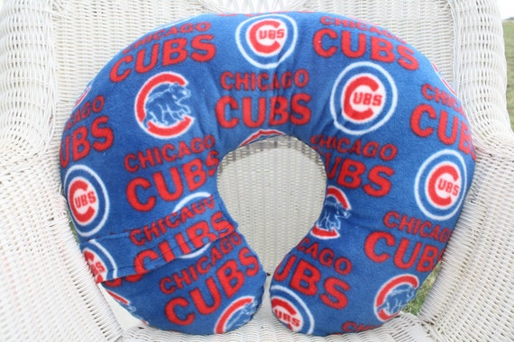 Chicago Cubs with Electric Blue Minky Boppy Cover
