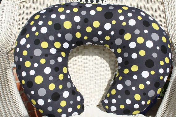 Citron and Gray Lolli Dots with Minky Boppy Cover