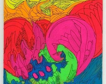 Neon Swirl Painting Art Print: 8x10 - LAST ONE