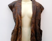 Leather Jacket. Bomber jacket. Brown. Removable Sleeves, just unzip. Real Leather. 1970s.
