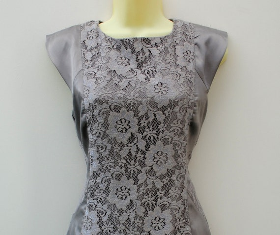 Lace Dress Silver Floral Stretchy Silk Like Material Mini Dress