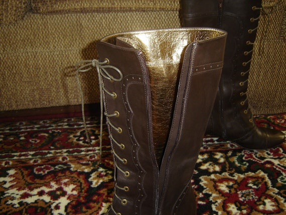 Victorian Steampunk Brown Leather Knee high Granny Boots Sz 7N