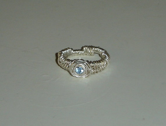 FREE Wrapped Up In Blue Repurposed Promise or Engagement Ring