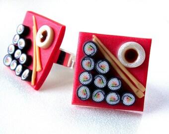 Polymer clay, Maki Roll ring, Sushi ring, sushi miniature, miniature food, food jewelry, polymer ring, Polymer art, handmade ring, DIY ring