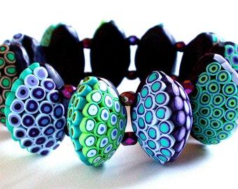 Polymer Clay Bracelet: Green to Violet Bracelet