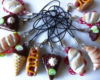 Polymer Clay Mini Food Phone Charms. Set of Three