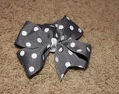 Gray and white polka dotted Inspired Hair Clip