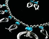 Diné (Navajo) Sterling Silver Tufa Cast Squash Blossom Necklace with Earrings - Sleeping Beauty Turqouise