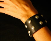 Leather Cuff with Hand-Stamped Sterling Silver Buttons