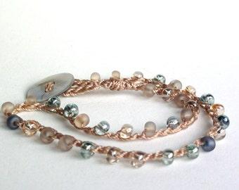 Beach Glass Crochet Ankle Bracelet