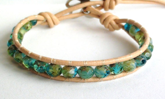 Water Colors Leather Wrap Bracelet