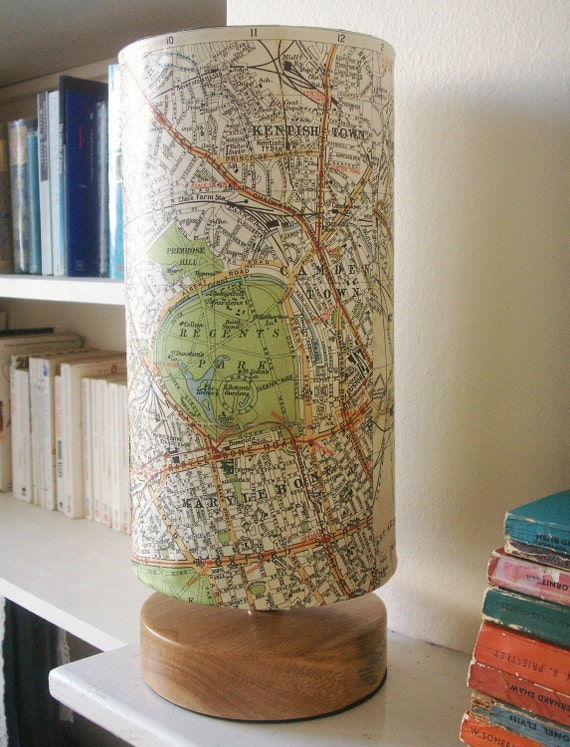 Vintage Philip's 1920's Map Lamp featuring Regent's Park and surrounding areas.