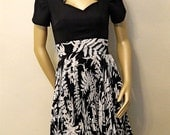 1940s Black and White Dress , Queen Anne Neckline , Accordion Pleat Skirt