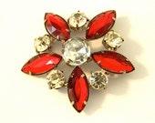 Vintage Star Brooch Red and White Rhinestones