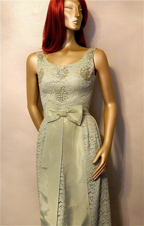 1960s Mint Green Lace Formal Dress - Floor Length