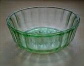 Bright Green Vintage Cut Glass Jewelry Catchall / Bowl / Decor / Dish