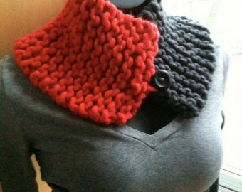 Extra Warm Charcoal / Heather Grey / Scarlet / Red Chunky Handknit Button Up Neck Warmer / Cowl / Scarf / Wrap
