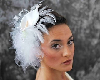 Calla Lilly with Tulle Fascinator