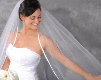 Cathedral length, ribbon edge, white veil