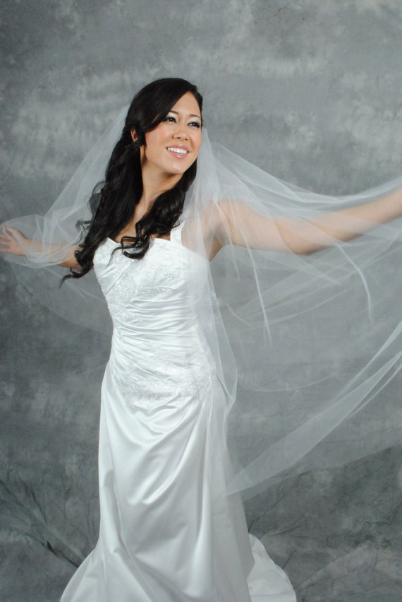 White, Waltz Length, Plain-edge Veil
