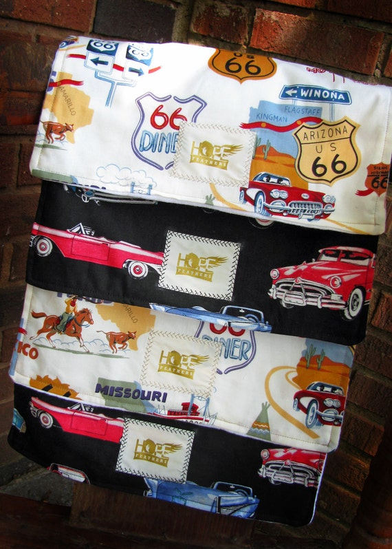 Set of 4 Burp Cloths: Stylish and Super Absorbent Retro Car Themed