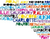 NORTH CAROLINA Digital Illustration of North Carolina State with Cities