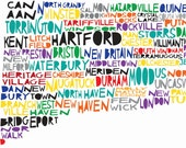 CONNECTICUT State Digital Illustration Print with Hartford New Haven
