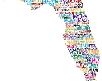 FLORIDA Digital illustration Print of Florida with Cities
