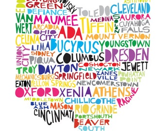 OHIO State of Ohio Digital Illustration Print with Cities Listed