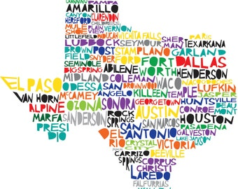 TEXAS Digital Illustration Print of Texas State with Cities Listed