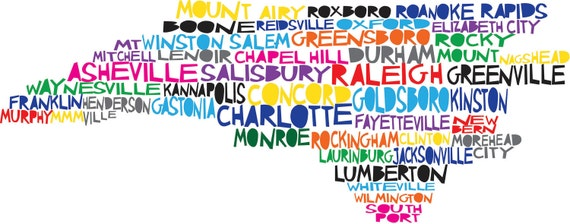 NORTH CAROLINA Digital Illustration of North Carolina State with Cities