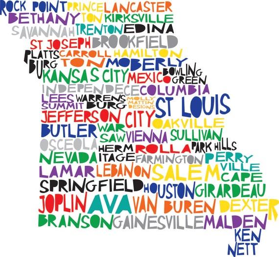 MISSOURI State Digital illustration Print Kansas City St Louis