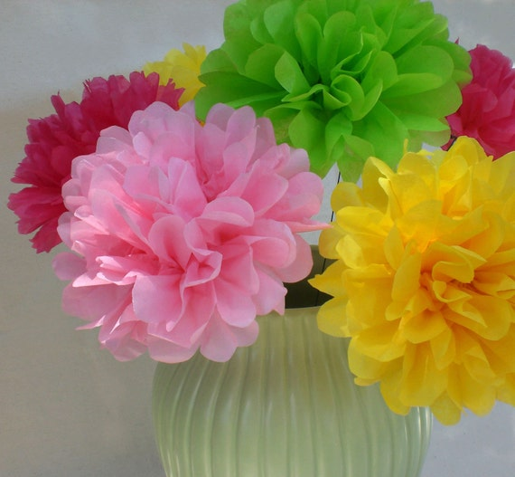 40 Stemmed Tissue Paper Flowers...Choose Your Colors.... Birthday Party and Baby Shower Decorations