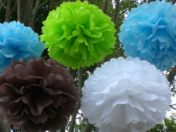 IT'S A BOY .  Baby Shower Decorations . 8 Hanging Tissue  Poms