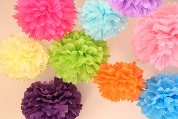 Wedding Decoration ..20 Hanging Tissue  Poms Plus 5 Paper Flowers...ANY COLORS..Wedding and Bridal Shower Decor