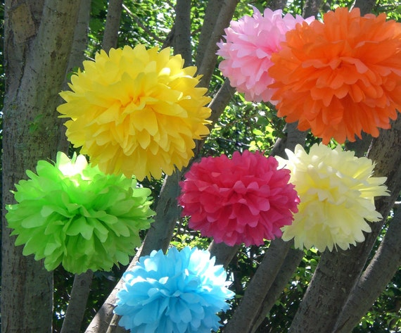 20 Tissue Paper Poms Plus 5 Free  Flowers...ANY COLORS..Wedding Decor