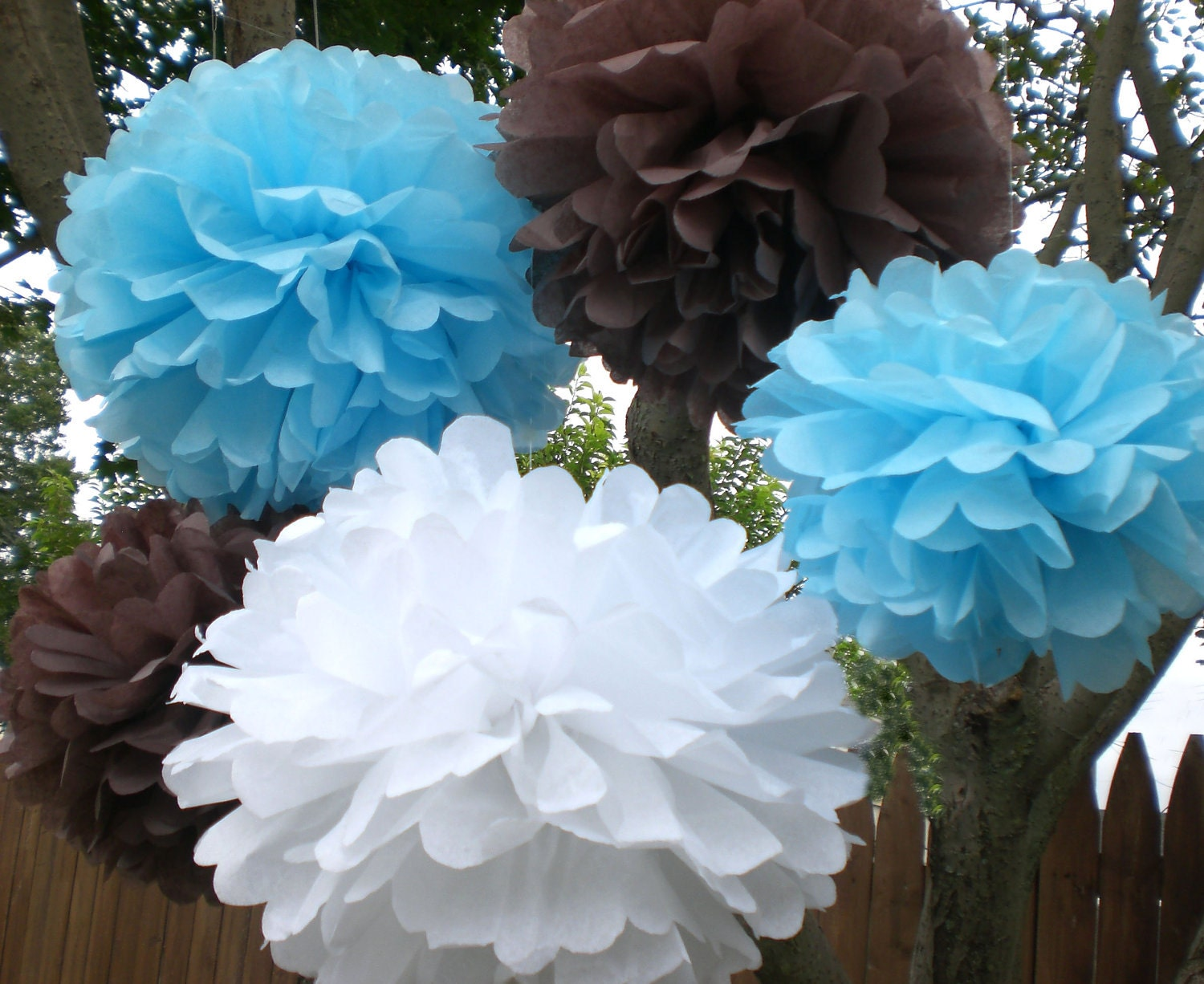 baby shower decorations 7 hanging tissue poms by terodesigns