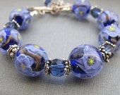 Purple Flowers Handmade Murano Glass Lampwork Bracelet with Swarovski Crystals