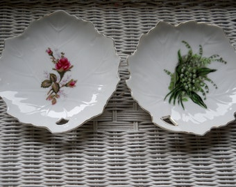 Vintage Pair of Japanese Dishes Cut Out Handle Floral with Gold Scalloped Edge