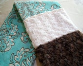 Baby Elegance I -  Aqua, Cocoa & Ivory Plush And Furry Baby/Toddler Minky Blanket - CreativeDesignsByond