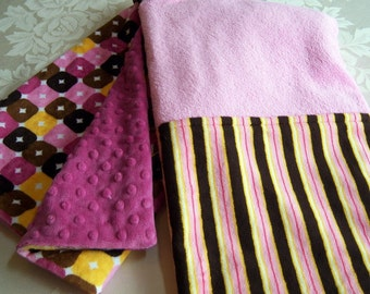 Pinks, Browns, Bright Yellow Crazy Squares & Stripes Minky Baby/Toddler Blanket