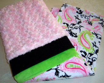 Fur Rosettes, Pinks, Green, Black & White Paisley Chic Baby/Toddler Minky Blanket