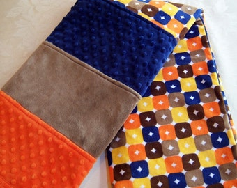 Orange Browns Blue & Yellow Squares Minky Baby/Toddler Blanket