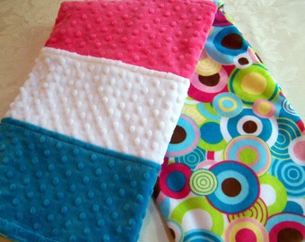 Turquoise, White, Fushia, Lime Green Yellow & Brown Bubbles Baby/Toddler Minky Blanket