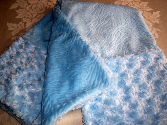 Classic Baby Blue Soft Embossed Minky And Fur Baby/Toddler Blanket